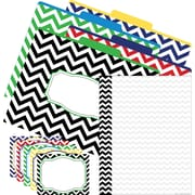 Barker Creek Chevron Nautical Office Set, 12 letter folders, 45 self-adhesive labels, 50 sheets computer paper/Set