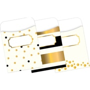 "Barker Creek Gold Peel & Stick Library Pockets, 3-1/2"" x 5-1/8"", multi-design set, 30/Pack"