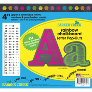 "Barker Creek 4"" Rainbow Chalkboard Letter Pop-Outs & Poster Letters, 234 characters/Pack"