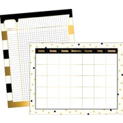 "Barker Creek 17"" x 22"" Gold Calendar & Incentive Chart Set, Reproducible Activities on the Backs, 2 Charts/Set"