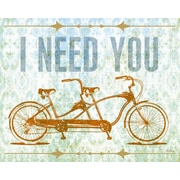 I Need You - Tandem Bike by Fancy That Design House and Co. Framed Graphic Art on Wrapped Canvas