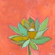 Wheatpaste Lotus Peach by Jennifer Mercede Painting Print on Wrapped Canvas