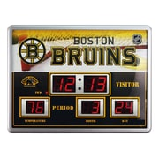 Team Sports America NHL Scoreboard Wall Clock with Thermometer; Boston Bruins