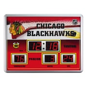 Team Sports America NHL Scoreboard Wall Clock with Thermometer; Chicago Blackhawks
