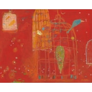 GreenBox Art Red Birdcages by Jenny Kostecki-Shaw Painting Print on Wrapped Canvas