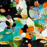 GreenBox Art Flowerfly by Flora Bowley Painting Print on Wrapped Canvas; 39'' H x 39'' W x 1.5'' D
