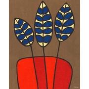 GreenBox Art 'Burlap Botanical Delphinium Orange' by Lisa DeJohn Painting Print on Wrapped Canvas