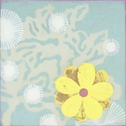 GreenBox Art Yellow Flower by Sally Bennett Painting Print on Wrapped Canvas in Blue
