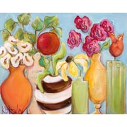 GreenBox Art 'Six Vases' by Kristina Bass Bailey Painting Print on Wrapped Canvas in Blue