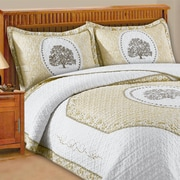 J&J Bedding Loren Tree Embroidery Quilt Standard Sham