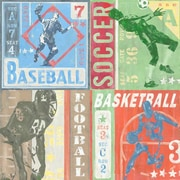 GreenBox Art Game Tickets - Team Sports by Roger Groth Painting Print on Wrapped Canvas