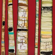 GreenBox Art Birch Trunks by Eli Halpin Painting Print on Wrapped Canvas in Red