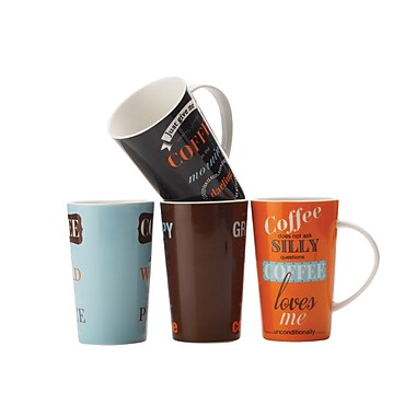 Maxwell & Williams Coffee Confucius Mugs, Set of 4
