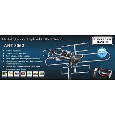 Electronic Master – Antenne TVHD télécommandée, 22 x 37 x 14 (po), argenté