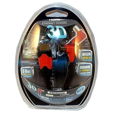 Electronic Master – Câble HDMI mâle à mâle 90 degrés de 6 pi, 2,4 x 5,5 x 7,1 po, noir