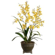 Tori Home 29'' Oncidium Orchid with Oval Pot in Yellow