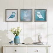 Intelligent Design 'Wise As An Owl' by Evangeline Taylor 3 Piece Framed Painting Print Set
