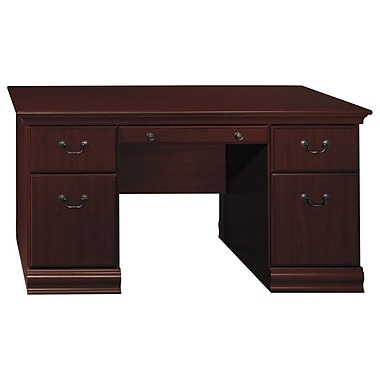 Bush Birmingham 60'' Double Pedestal Desk, Harvest Cherry