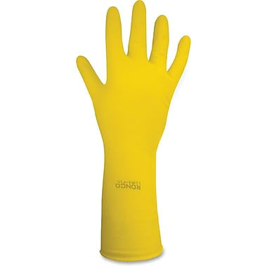 Ronco Flock Lined Light Duty Latex Gloves, Yellow, Medium, 12/Pairs