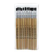 "Charles Leonard Flat Easel Paint Brushes With 1/4"" Wide Natural Stubby Handle, Black Bristle, 6/Pack"