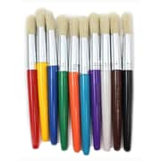 "Charles Leonard Round Paint Brushes With Stubby Assorted Handle, 7 1/2"", 3/Set"
