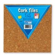 "Flipside Cork Tiles, Natural, 6"" x 6"""