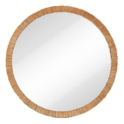 Majestic Mirror Simple Circular Textured Framed Glass Wall Mirror; Rose Gold