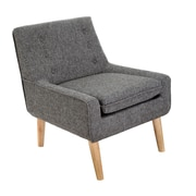 Home Loft Concept Reese Tufted Fabric Retro Side Chair; Charcoal
