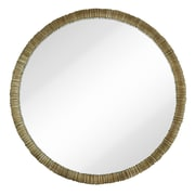 Majestic Mirror Simple Circular Textured Framed Glass Wall Mirror; Pewter