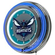 "Trademark Global NBA NBA1400-CH Hornets 14.5"" Multicolor Double Ring Neon Clock"