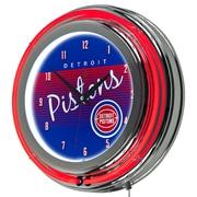 "Trademark Global NBA Hardwood Classics NBA1400HC-DP 14.5"" Blue Double Ring Neon Clock, Detroit Pistons"