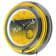 "Trademark Global NBA Hardwood Classics NBA1400HC-GSW 14.5"" Yellow Double Ring Neon Clock, Golden State Warriors"