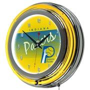 "Trademark Global NBA Hardwood Classics NBA1400HC-IP 14.5"" Yellow Double Ring Neon Clock, Indiana Pacers"