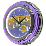 "Trademark Global NBA Hardwood Classics NBA1400HC-LAL 14.5"" Purple Double Ring Neon Clock, Los Angeles Lakers"