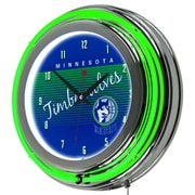 "Trademark Global NBA Hardwood Classics NBA1400HC-MT 14.5"" Blue Double Ring Neon Clock, Minnesota Timberwolves"