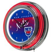 "Trademark Global NBA Hardwood Classics NBA1400HC-NJN 14.5"" Blue Double Ring Neon Clock, New Jersey Nets"
