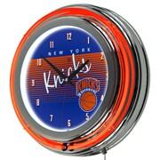 "Trademark Global NBA Hardwood Classics NBA1400HC-NYK 14.5"" Blue Double Ring Neon Clock, New York Knicks"