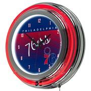 "Trademark Global NBA Hardwood Classics NBA1400HC-P76 14.5"" Blue Double Ring Neon Clock, Philadelphia 76ers"