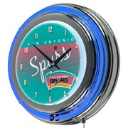 "Trademark Global NBA Hardwood Classics NBA1400HC-SAS 14.5"" Blue Double Ring Neon Clock, San Antonio Spurs"