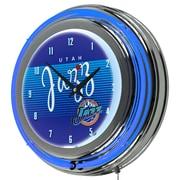 "Trademark Global NBA Hardwood Classics NBA1400HC-UJ 14.5"" Blue Double Ring Neon Clock, Utah Jazz"