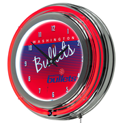 "Trademark Global NBA Hardwood Classics NBA1400HC-WB 14.5"" Red Double Ring Neon Clock, Washington Bullets"
