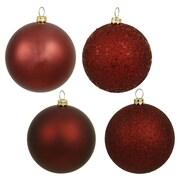Vickerman Sequin Ball 4 Piece Ball Ornament Set (Set of 4); Burgundy