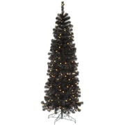 Vickerman 7.5' Black Pencil Artificial Christmas Tree with 250 LED Single Colored Lights