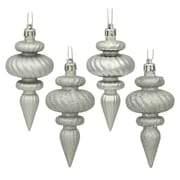 Vickerman Finial Assorted Christmas Ornament (Set of 8); Silver