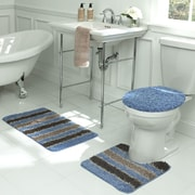 Bath Frieze Deliso Stripe Shag 3 Piece Bath Set; Light Blue