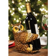 Cypress Winter Lodge Polystone Owl 1 Botle Tabletop Wine Rack