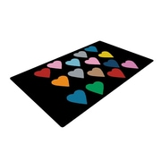 KESS InHouse Hearts Color on Black Area Rug; 2' x 3'