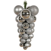Vickerman Assorted Shape Grape Cluster Ornament; Silver