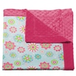 Blossom and Buds Flower Printed Minky Dot Cotton Polyester Blanket