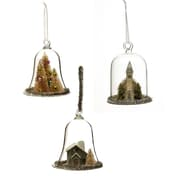 Cypress 3 Piece Vintage Glass and Paper Cloche Ornament Set (Set of 3)